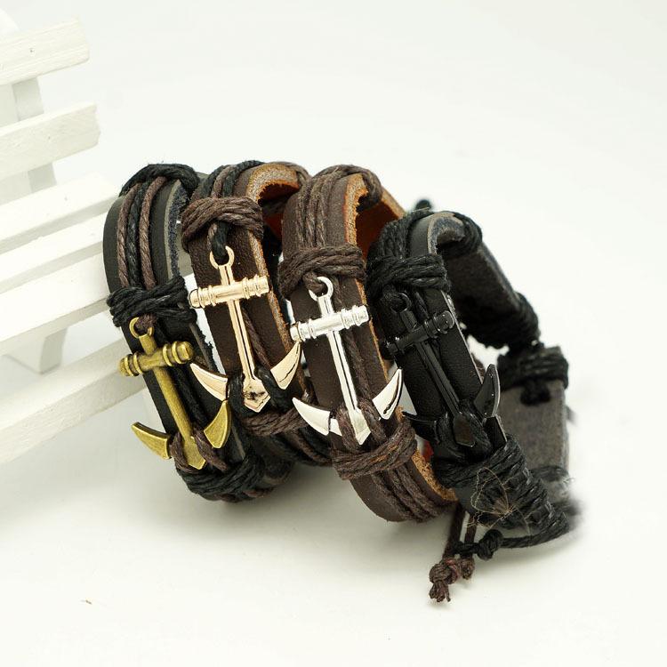 Leather Braided Rope Wristband men bracelets bangles hand-woven Fashion Jewelry(China (Mainland))