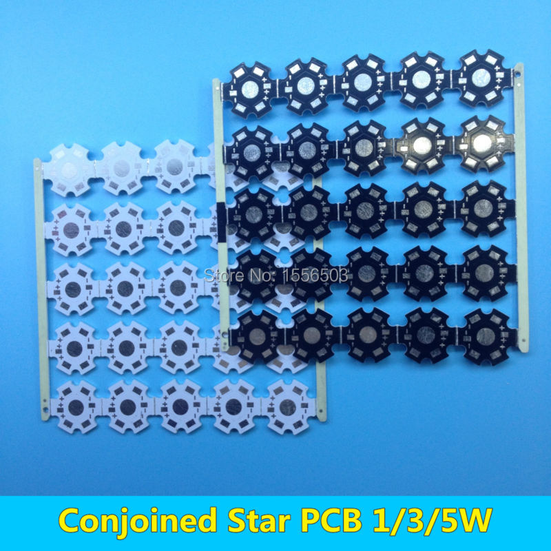 50 pcs Conjoined LED star PCB Board for 1W 3W 5W High Power LEDs Heatsink base 20mm White Black Aluminum Plate for LED Lamp DIY(China (Mainland))