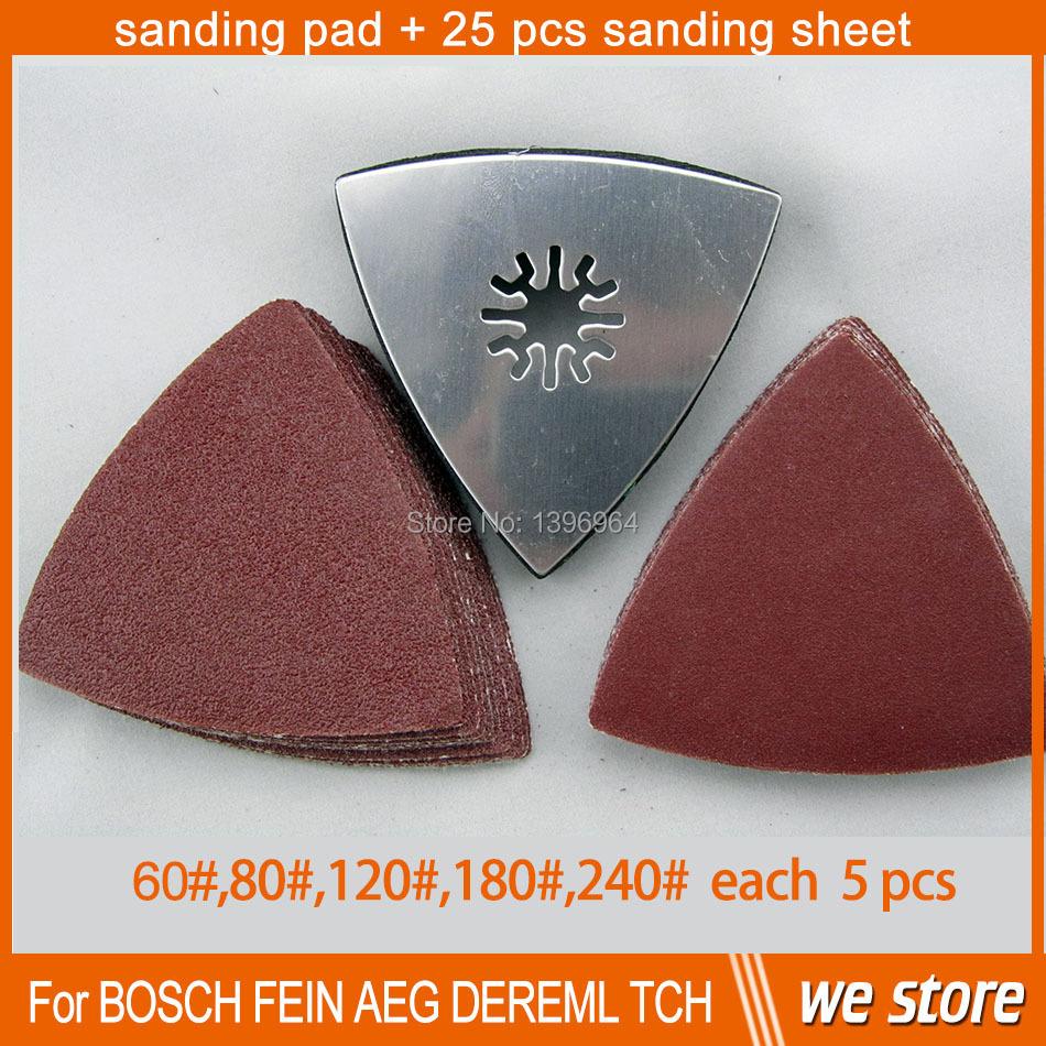FREE SHIPPING 20pcs Sanding paper(10pcs 80# + 10pcs 120#)+Triangular sanding pad fits for Fein Dremel multifunction power tool<br><br>Aliexpress