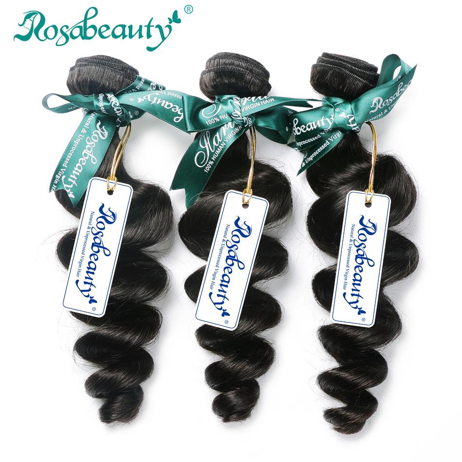 Rosabeauty Indian Virgin Hair 3 Bundles Indian Loose Wave Virgin Hair Unprocessed Human Hair Weave Soft Hair Weave Bundles