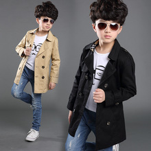 Boy Trench Coat New 2015 Long Sleeve Outerwear Kids Windbreaker Boys Children Trench Coat Black and Khaki Outerwear 4-16Y(China (Mainland))