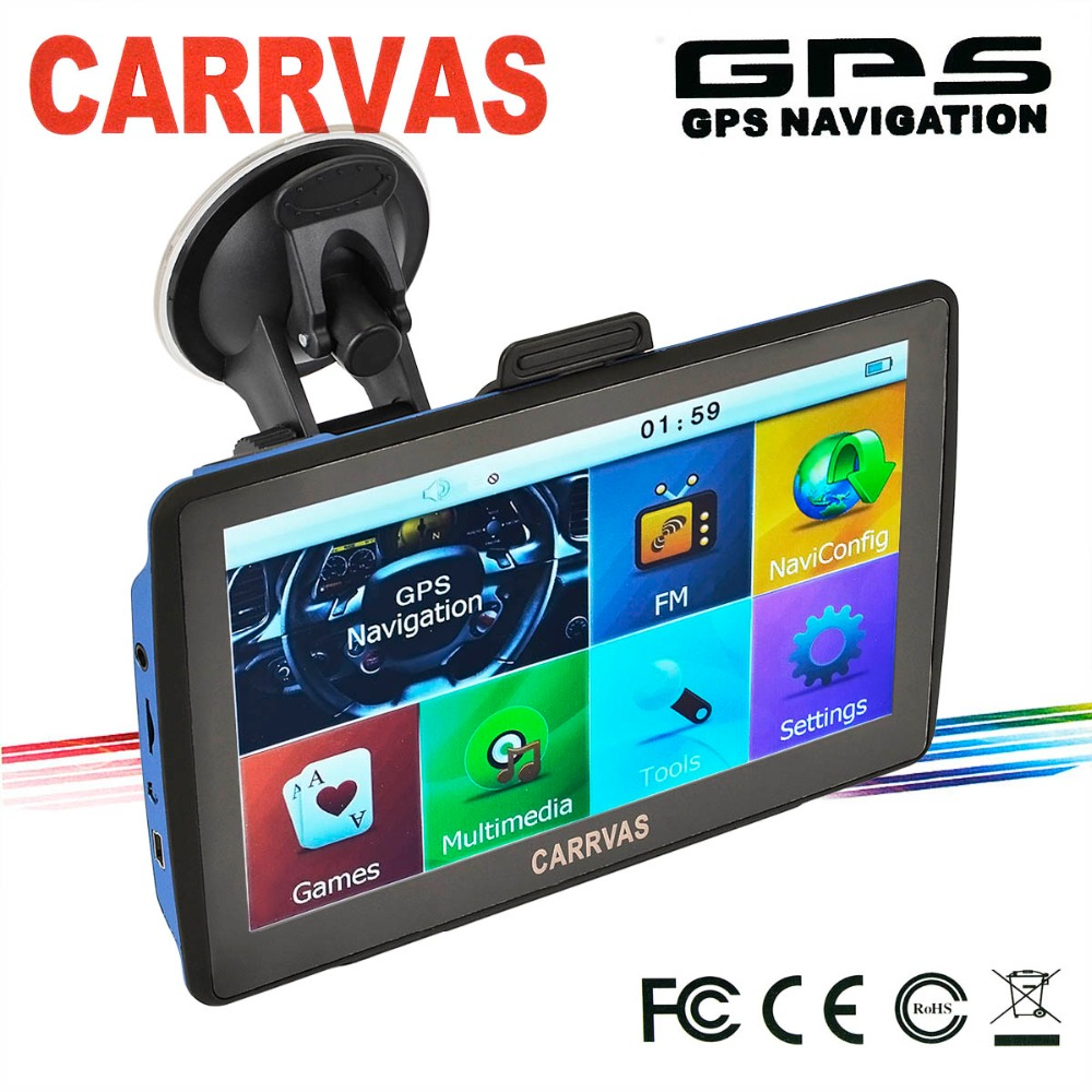 CARRVAS 7 inch HD Car GPS Navigator System LCD Touch Screen/ Multimedia Player/ FM transmitter/ UK and Europe Maps 8GB 128MB(China (Mainland))