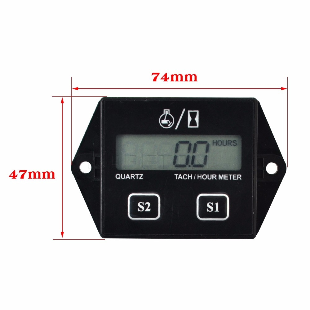 Digital Engine Tach Hour Meter Tachometer Gauge Engine RPM LCD Display For Motorcycle Motor Stroke Engine Car Boat Motorcycle