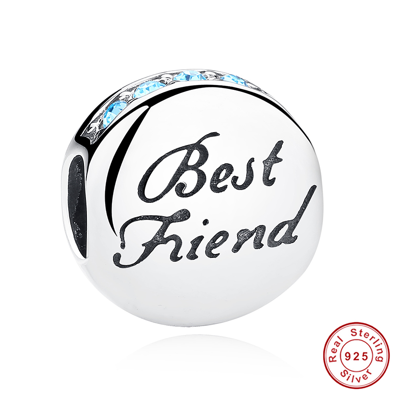 New Fashion Real 925 Sterling Silver Best Friend Beads Charms fit Pandora Bracelets Necklace Friendship Gift PCC022(China (Mainland))