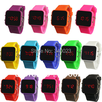 Hot Sale! 1PC New Fashion Color Storm Men Lady Mirror LED Date Day Silicone Rubber Band Digital Wrist Watch Gift R12