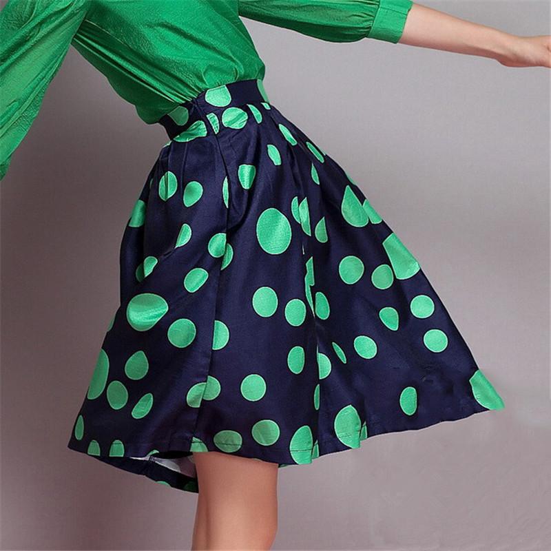 Midi Skirt 2015 Fashion Women Brand High Waist Polka Dot Print Tutu Spring Summer Ball Gown saias femininas Plus Size - Wischoo--Shopping Wise Choose store
