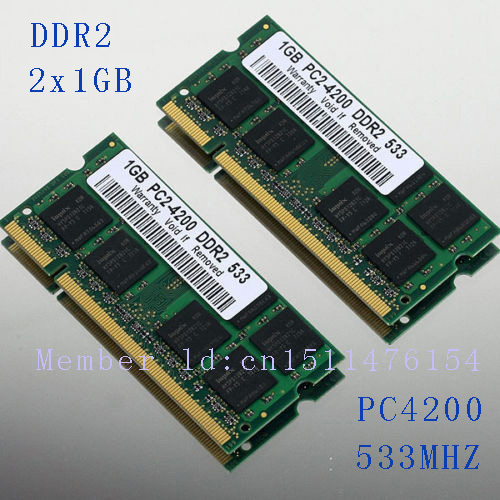 NEW 2GB 2x1GB PC2-4200 DDR2-533 533Mhz 200pin DIMM Laptop Memory pc4200 533MHZ DDR2 Low Density RAM Free shipping(China (Mainland))