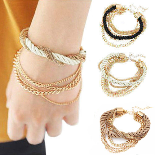 New Gorgeous Multilayer Woven Fabric Bracelet with Gold Chains(China (Mainland))