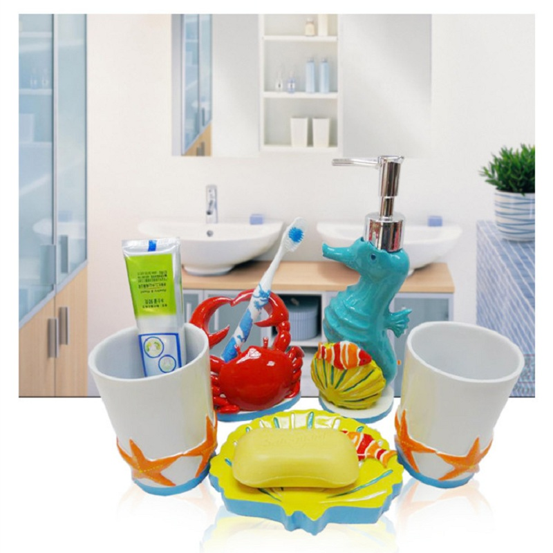 2015 Kids Bathroom Sets High Quality Five Pieces Cartoon Conjunto Banheiro Cute Resin Toothbrush