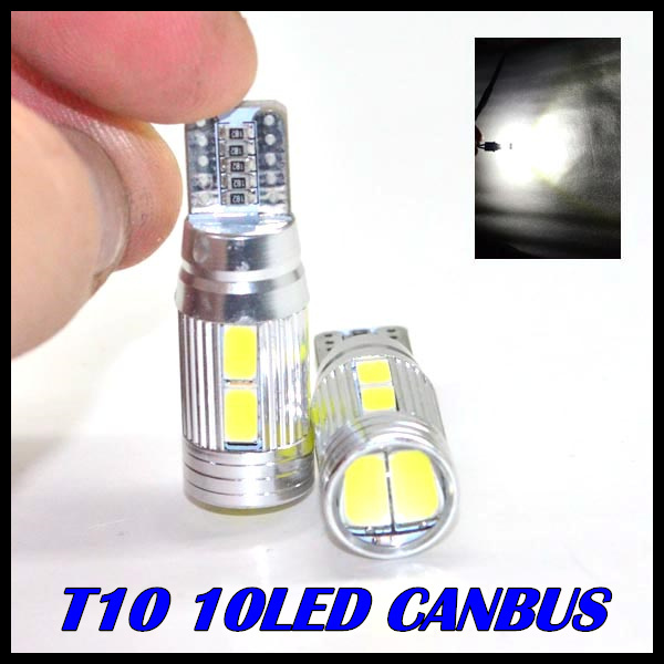 1 X T10 LED canbus W5W 194 Interior Xenon White LED CANBUS NO OBC ERROR 10SMD 5630 5730 with Lens Projector Aluminum Case bulbs(China (Mainland))