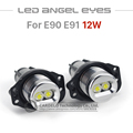 2x 6W 12W LED Halo Ring Marker Angel Eyes Bridgelux Chip 7000K XENON White Blue Red