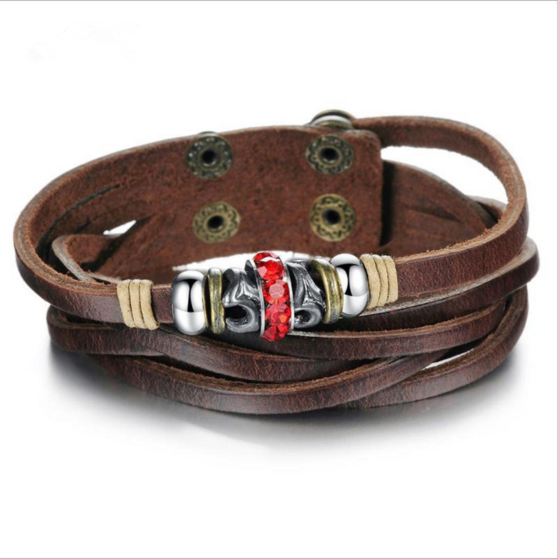 Men's Multilayer bracelets & bangles Hand-made Cowhide Friendship Bracelets Braied Real Leather Jewelry PH824 - Coolcastle store