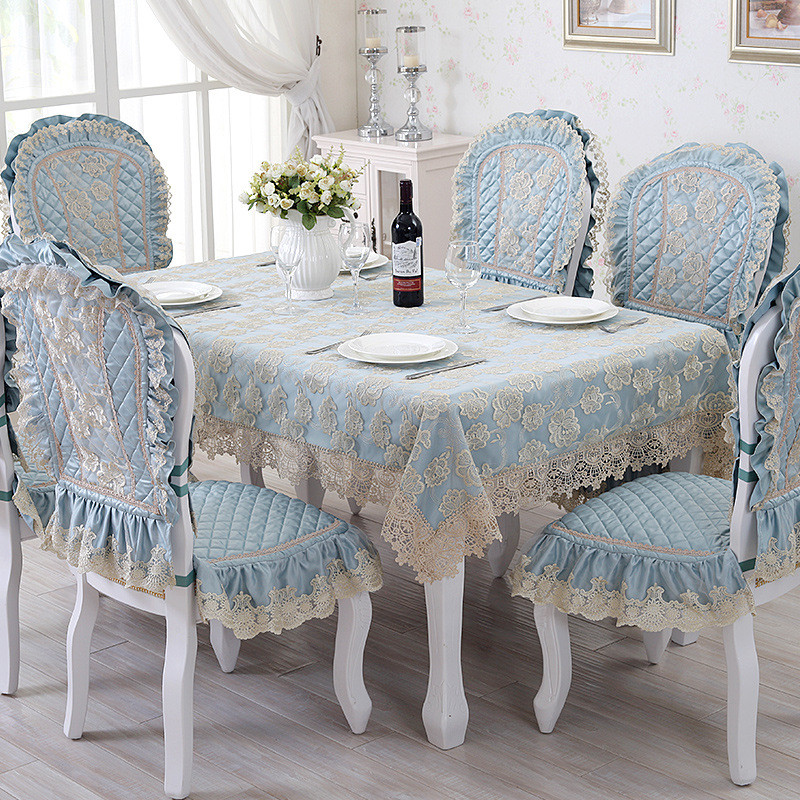 European Luxury Dining Table Cloth Blue Rectangle Table Cover Lace Silk Fabrics Embroidered Tablecloth Set Quilted Chair Covers(China (Mainland))