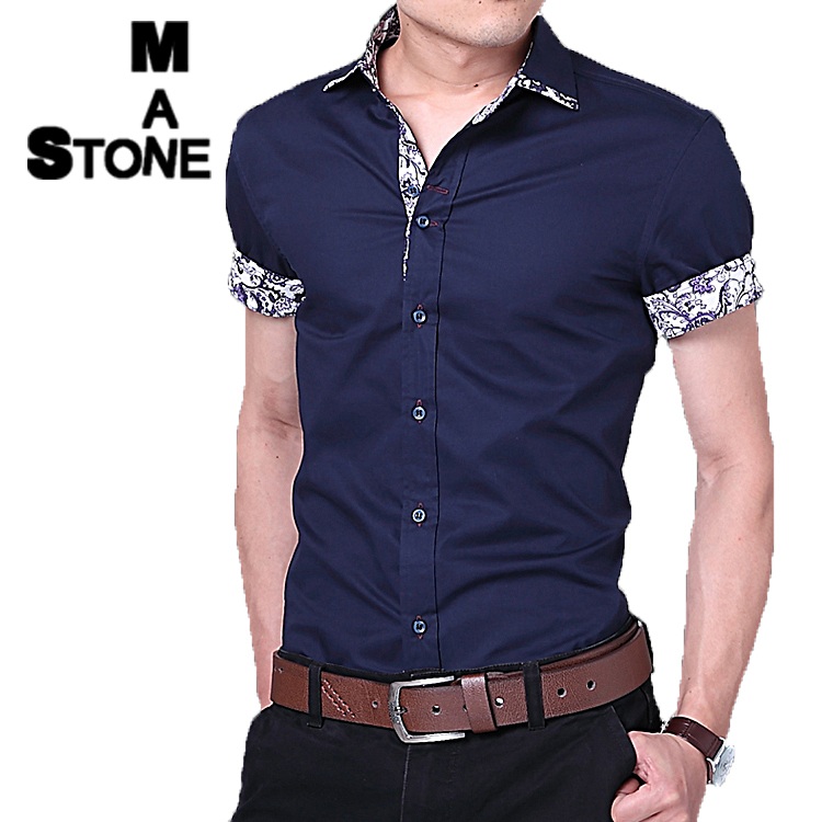 Men s shirt slim fit short sleeve dress fashion french for Mens slim hawaiian shirt
