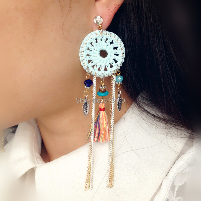 Feather Earring Handmade Dream Catcher Native American Style Feather Earrings Free Shipping(China (Mainland))