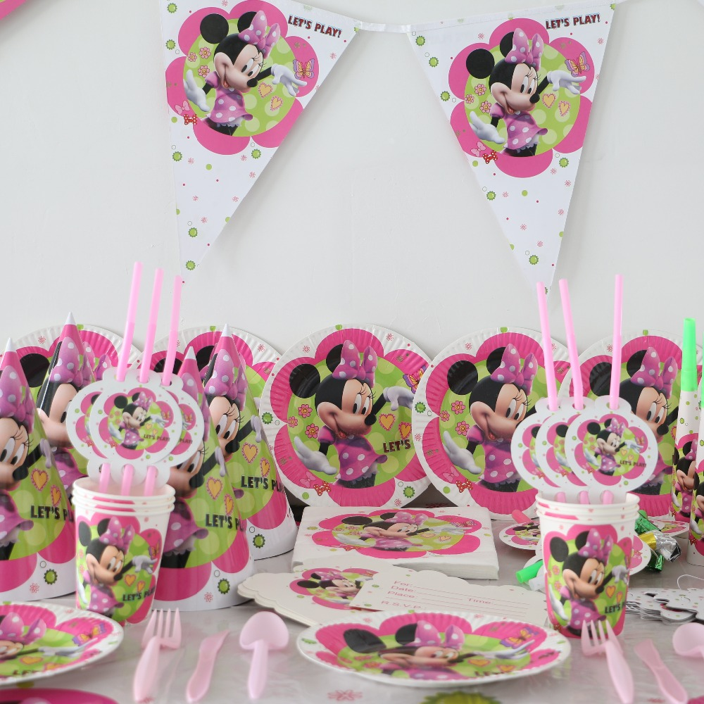 80pcs minnie mouse cartoon kids girls birthday party decoration set party supplies baby birthday party pack paper cups + plates(China (Mainland))