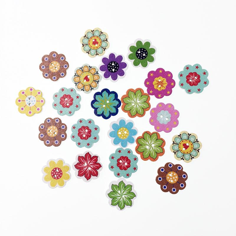 100Pcs Fancy Popular Bulk Mixed Wood Button Flower Sewing Accessories Decorative Buttons Handmade Scrapbooking Craft DIY 20mm(China (Mainland))
