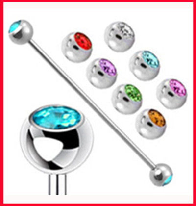 Fashion industrial ear stud(T32)Free shipping mix 10 color 200pcs/lot stainless steel tongue bar body piercing jewelry<br><br>Aliexpress