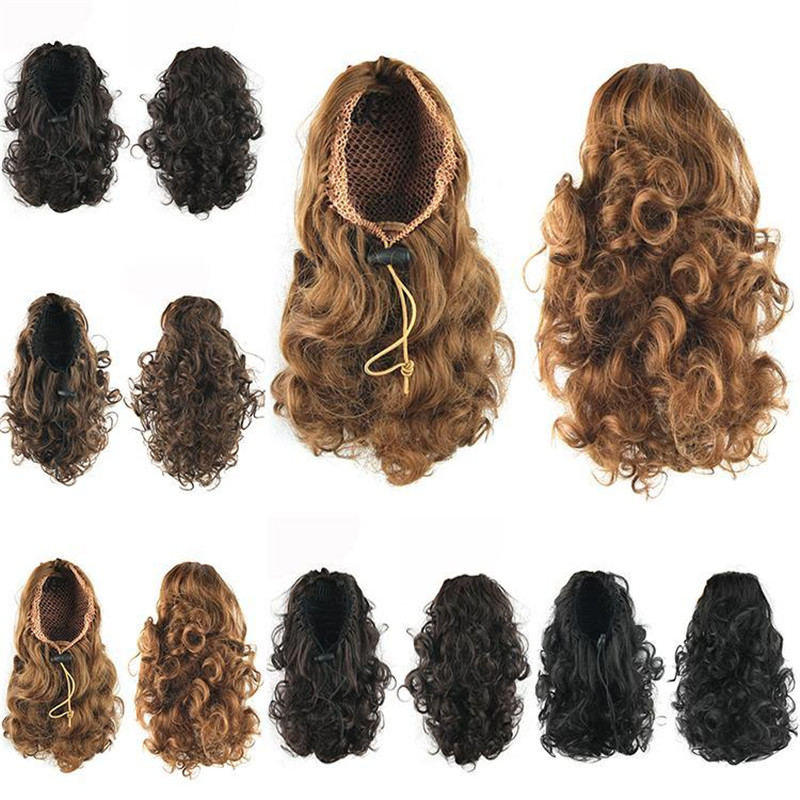 1PC 95g 13inch Synthetic Curly Wig/Drawstring Ponytails Short Hair Extensions for Black Women<br><br>Aliexpress