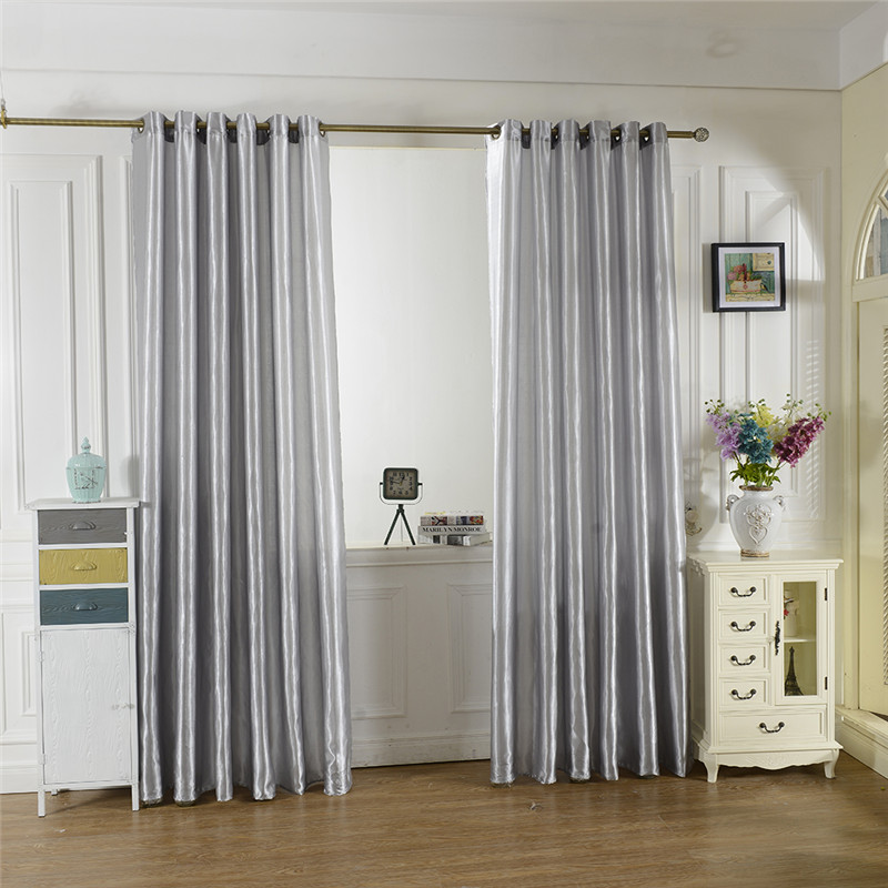 2016 new blue black 10 colors satin curtains tulle door for Door window curtains