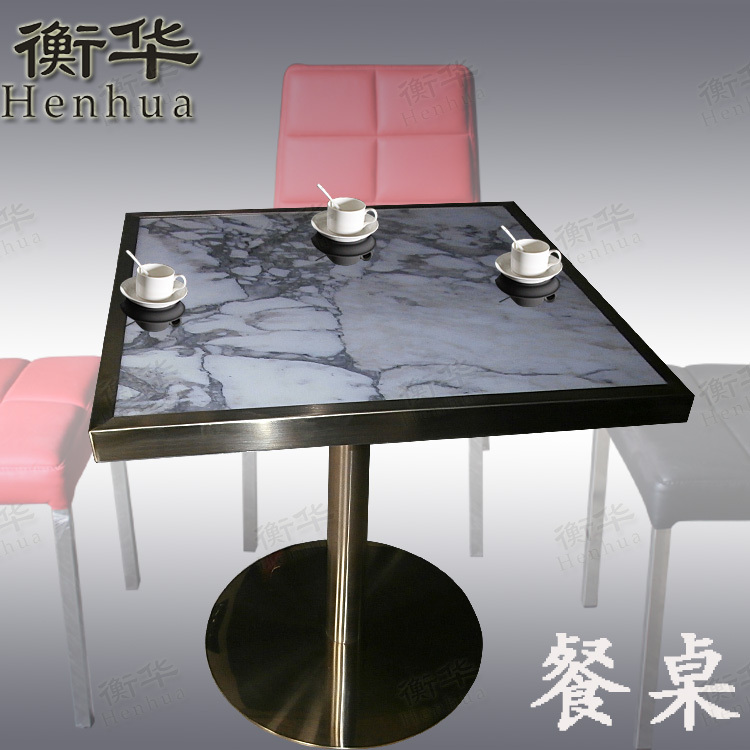 Minimalist modern upscale hotel cafe dedicated stainless steel champagne square dining table marble tables T318(China (Mainland))