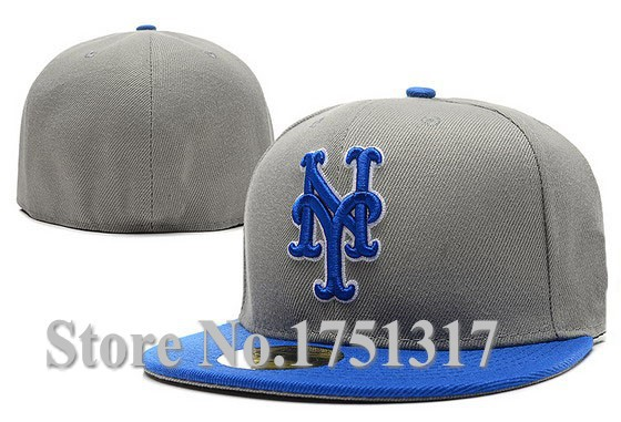 New Fashion Hip Hop Men's Mets Fitted Hats Chapeau Baseball On Field Flat Full Closed Caps Gray Top Blue Brim NYM-3(China (Mainland))