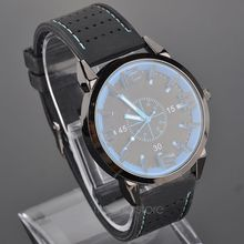 Hot Excellent Fashion mens Retro Design Rubber Band Analog Alloy Quartz Wrist Watches men relogio Thinner