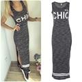 Fashion No 9 CHIC Print Summer Sleeveless Side Split Sexy Tank Dress Bodycon Women Robes