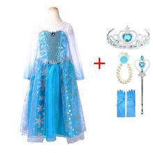 2018 חדש אלזה שמלת בנות מסיבת Vestidos קוספליי ילדה בגדי אנה שלג מלכת הדפסת יום הולדת נסיכת שמלת ילדים תלבושות(China)