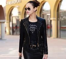 ladies genuine leather jacket 2015 new autumn leather jacket ladies outerwear clothing woman leather jacket(China (Mainland))