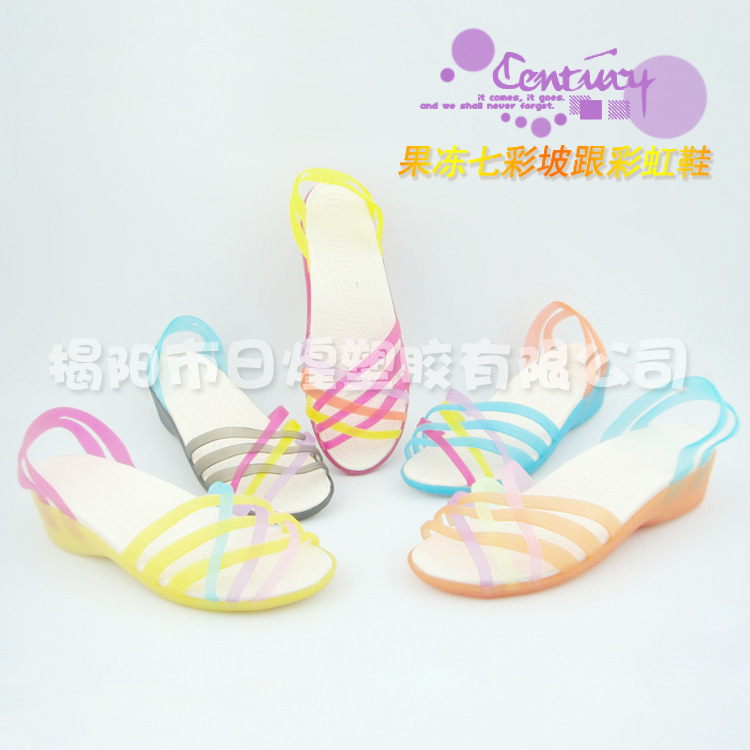 Popular summer fashion explosion models hot knitting colorful rainbow jelly sandals wedges<br><br>Aliexpress