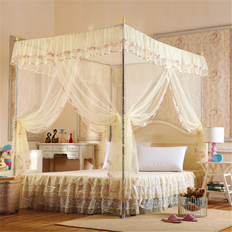 With stainless steel mosquito net canopy adult bed mosquito netting canopy luxury bed canopy bed mosquito canopy(China (Mainland))