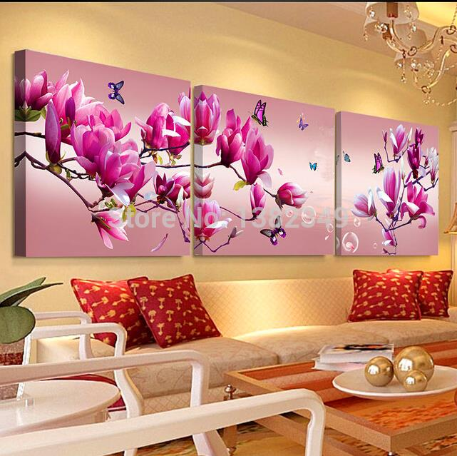 Quadros De Parede 3 PieceCheap abstract Modern Wall Painting purple pink flower Wall Pictures for Living Room Home Decoration(China (Mainland))