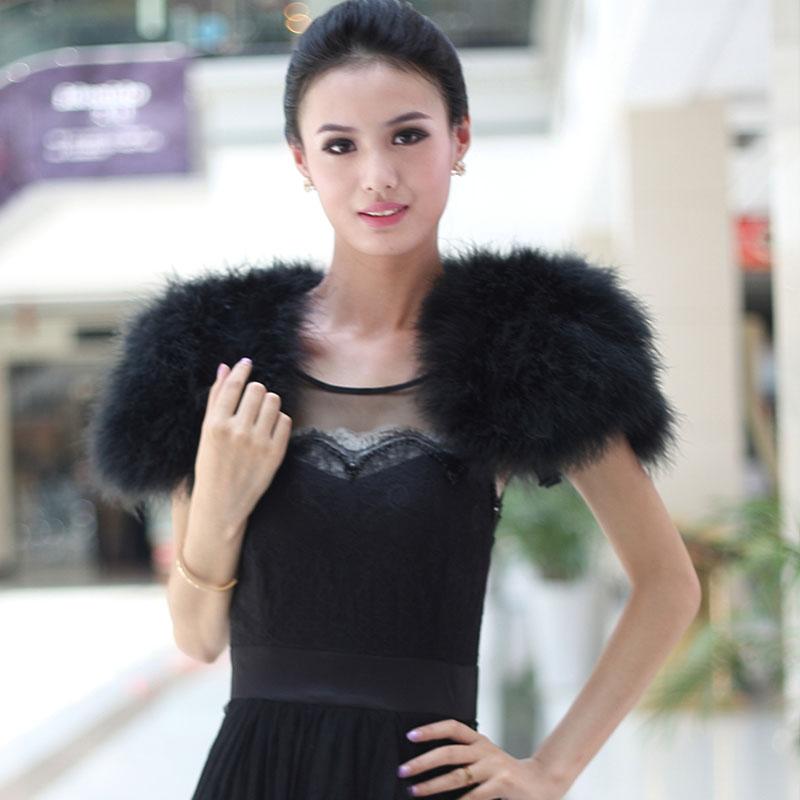luxe noir autruche plume de marie de fourrure bolero 2016 hiver shrug manteau de mariage veste - Bolero Plume Mariage