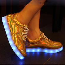 Size 35 to 50 Luxury Designers Gold Leather Sale yezzy Glow tenis feminino Led Slippers Basket Femme usb Shoe Luminous for Adult(China (Mainland))