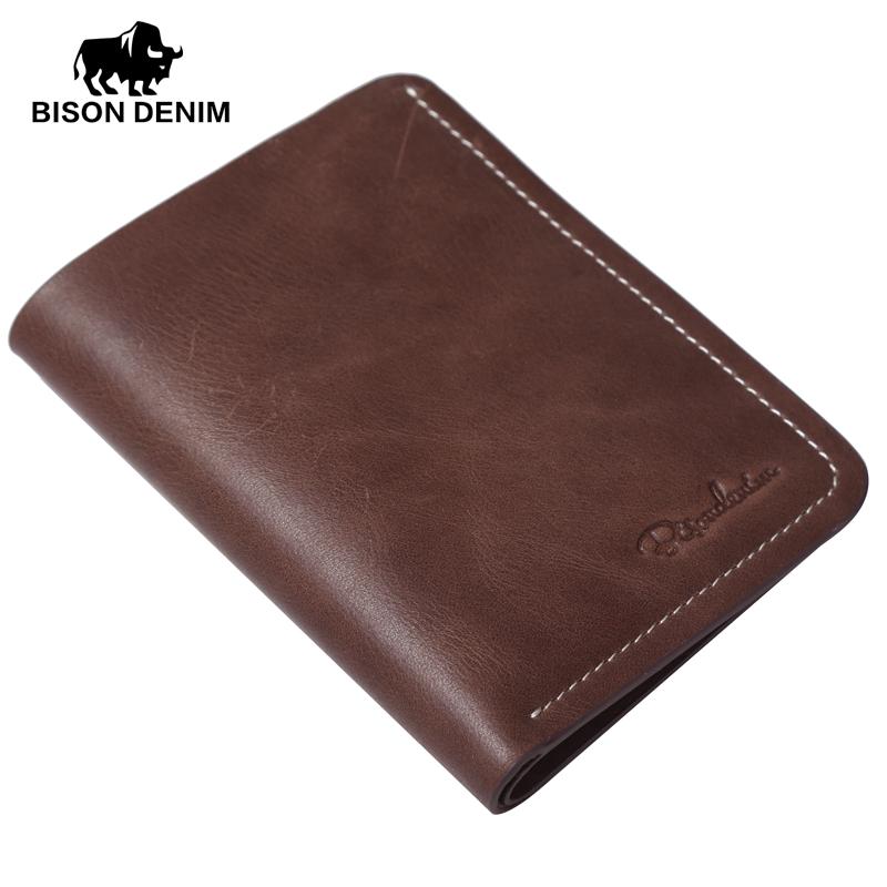 BISON DENIM chocolate vintage Genuine Leather Wallet For Men,Mini slim men wallet small purse for men Clutch wallet N4386-2U(China (Mainland))