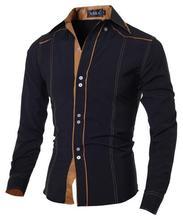 Горячая 2018 новый бренд Для мужчин Повседневное рубашка тонкий моды Для мужчин Рубашки для мальчиков с длинными рукавами CHEMISE Homme одноцветно...(China)