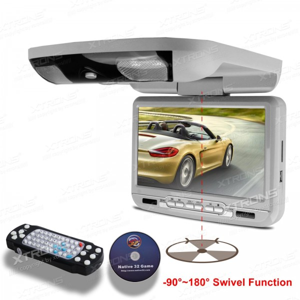 """9"""" Grey Color Car Roof Monitor DVD Player radio with DVD/ SD/ USB/ 32 Bits Game/ Built in IR/FM Transmitter and Built-in Speaker(China (Mainland))"""