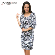 Kaige.Nina New Women's Clothing Novel Style 7 Minutes Of Sleeve Round Collar Tight Printing Knee-Length Dress 1228(China (Mainland))