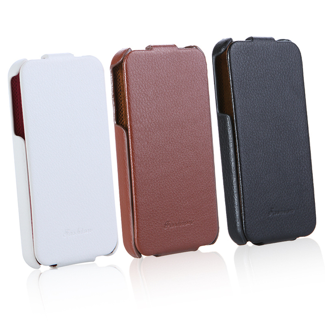 High Quality Phone Case 3 color Fashion Luxury Retro Flip Slim Genuine Leather Case Cover for iPhone 4 4S