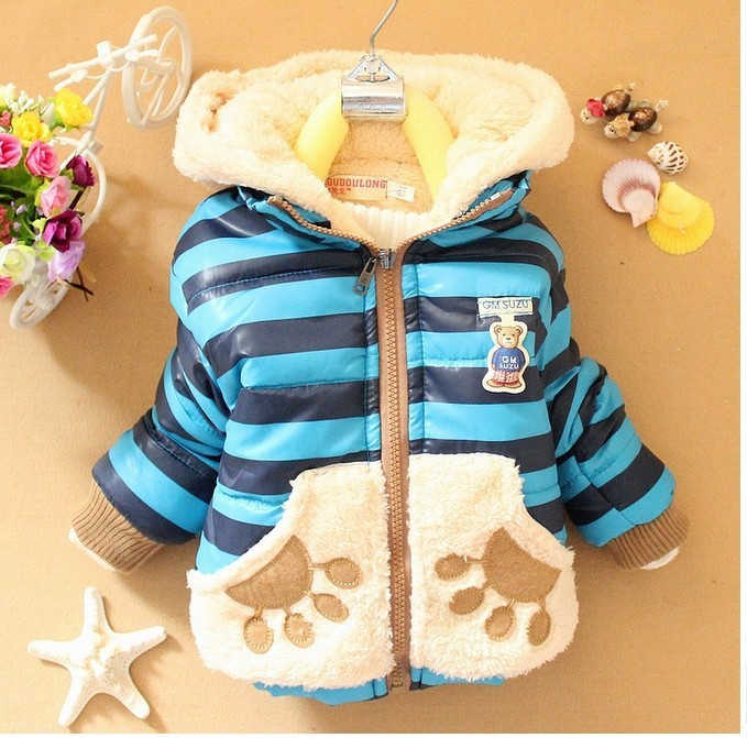 DSY064 Free shipping !! 4 colors 2014 new arrival boys jacket striped children winter outerwear fashion bear kids coat retail(China (Mainland))