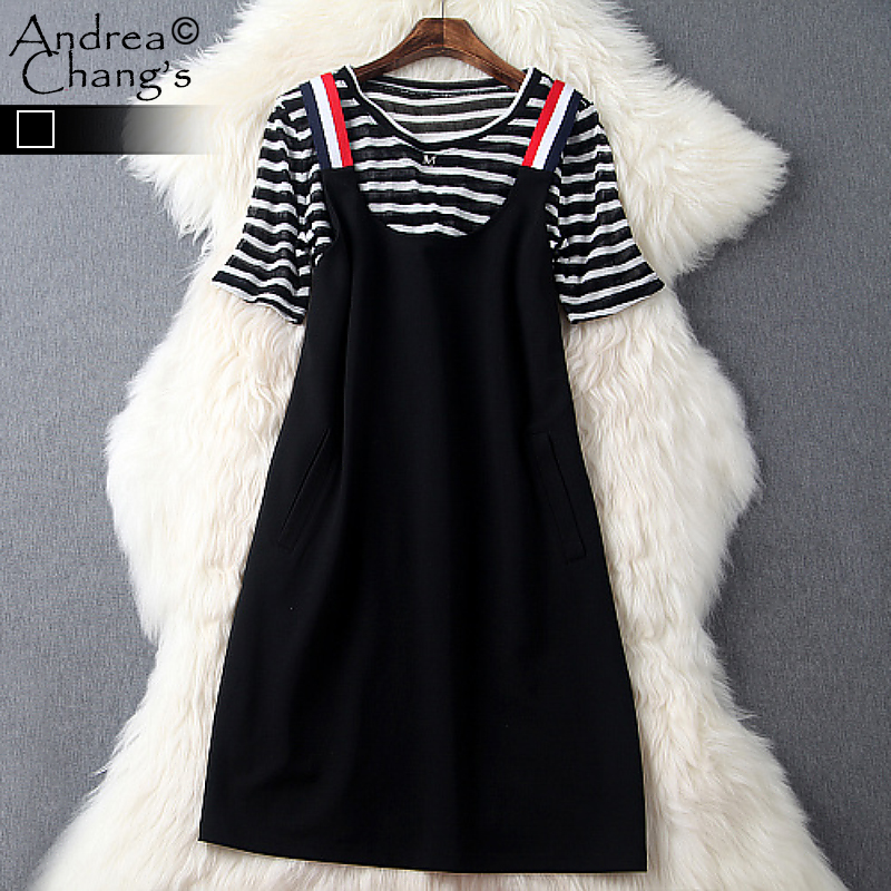 spring summer runway designer womens clothing set black white strip transparent top black overall dress set casual brand set(China (Mainland))