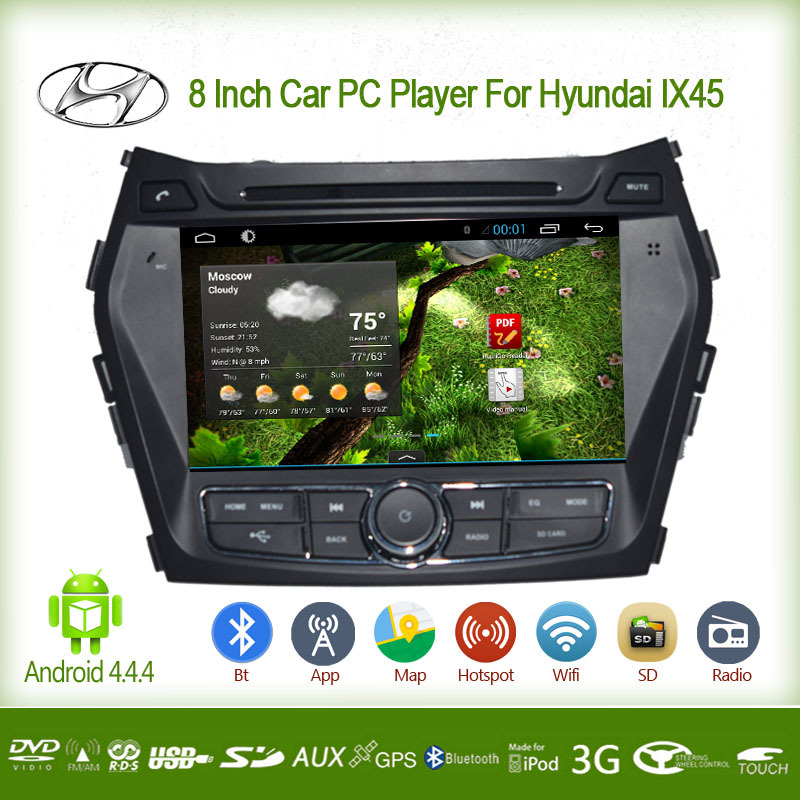 8 INCH CAR PC PLAYER FOR HYDAI IX45 WITH ANDROID 4.4 FULL TOUCH SCREEN BILIT-IN WIFI SUPPORT SD USB BT 3(China (Mainland))