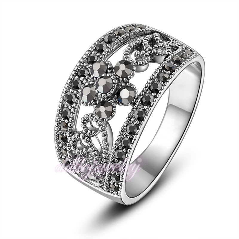 18k GP Black Grey Crystals Rings Retro Classic Hollow Design Cocktail Ring Fashion Women Jewelry Gift R1029(China (Mainland))