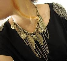 Fashion jewelry Exaggerated retro sweater chain necklace Punk coin necklace Korean Temperament retro jewelry choker necklace