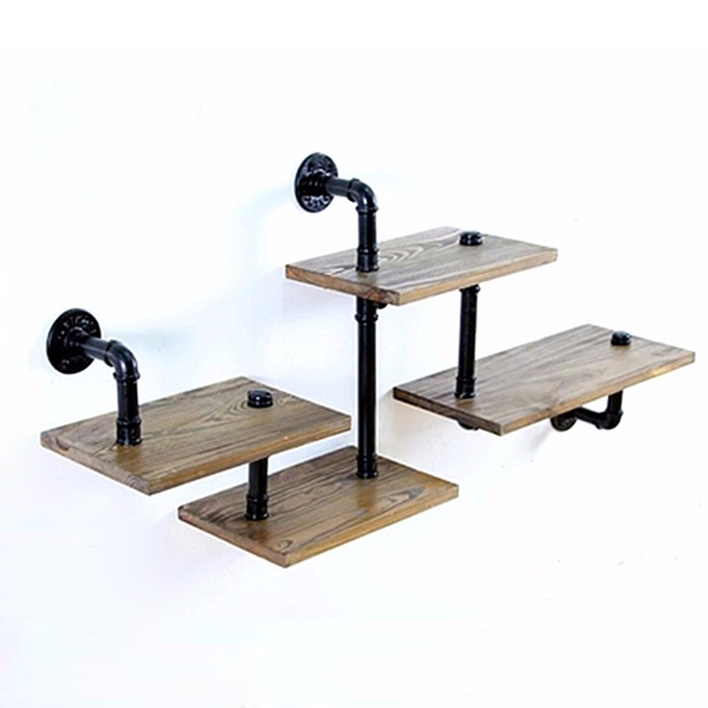 1pc industrial pipe bathroom shelf metal wall mounted. Black Bedroom Furniture Sets. Home Design Ideas
