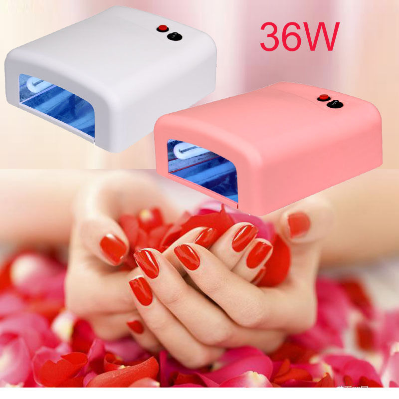 36W Pink / White Color UV Nail Timer Dryer + Free 4 Tubes Lamps Gel Acrylic Timer Dryer Curing Polish Light Spa Kit AC110V(China (Mainland))
