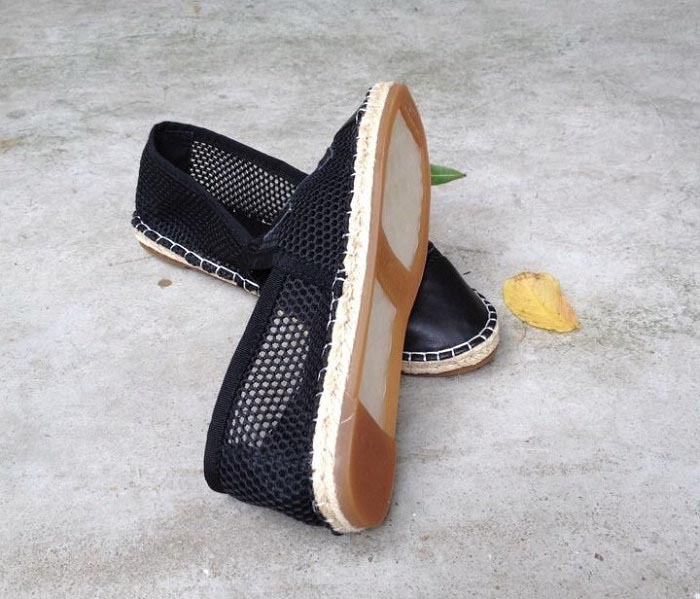 2014 fashion New 100% genuine leather Mesh Net espadrille cap toe color block jute textured rope women flat boat shoes - SHOELIVE-Live for Shoes store