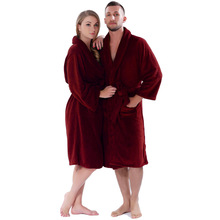 Lovers Winter Thickening Warm Bathrobe Plus Size Coral Fleece Solid Color Men Women Dressing Gown Sleepwear Robe For Couples(China (Mainland))