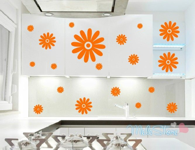 1Kitchen Cabinet Stove Furniture Flower Stickers Elegant Refrigerator Wall Many Color Choice - Beth wallpaper store